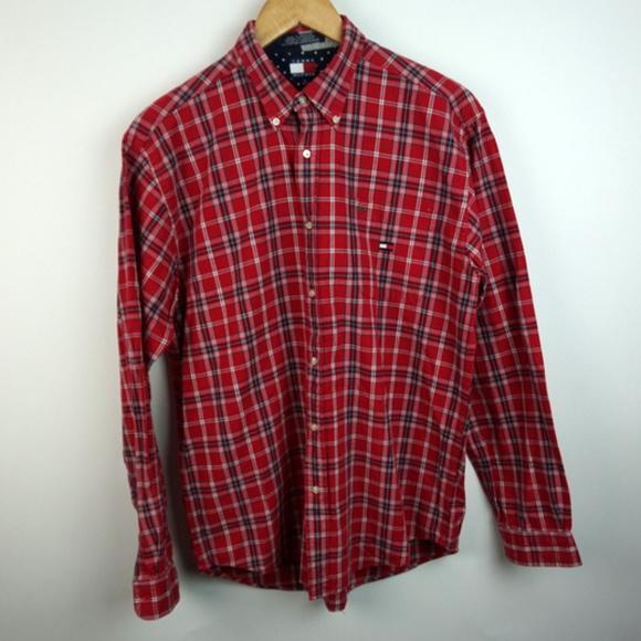 c415d4fa Tommy Hilfiger Shirts | Tommy Long Sleeve Plaid Flag Logo Button ...
